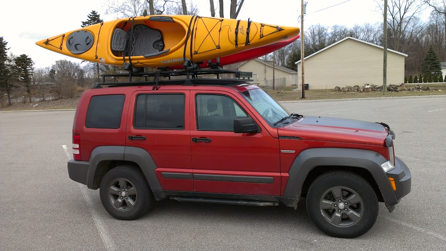 Lost Jeeps View Topic Kayaks On My Custom Kk Rack Over My Skyslider