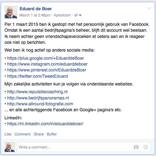 Stoppen met Facebook