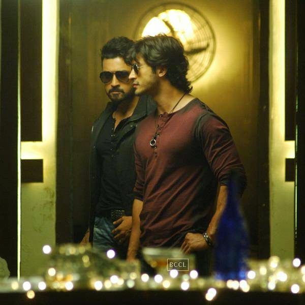 Suriya and Vidyut Jamwal in a still from Telugu movie Sikander. (Pic: Viral Bhayani)