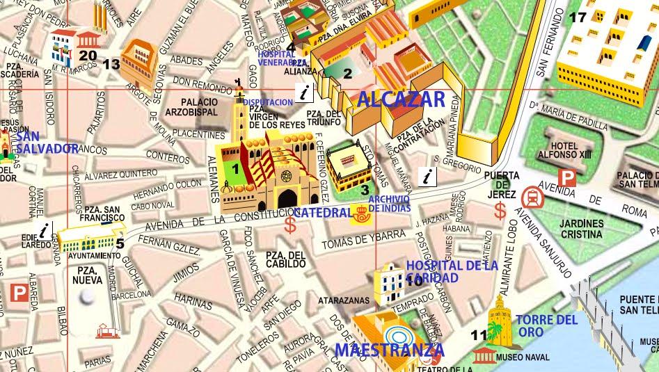 sevilha mapa Guia de Sevilha – Espanha | Viagem.decaonline.| Dicas de Viagem sevilha mapa