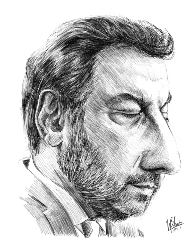 Sketch caricature of Nuno Crato, using Krita.