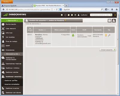 Configuración usuario actual, usuarios, perfiles de acceso Pandora FMS