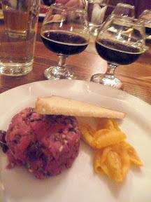Block 15 Vintage Draught Dinner and Pairing Beef Tartar with Shallot Dijon Oregon Tart Cherries