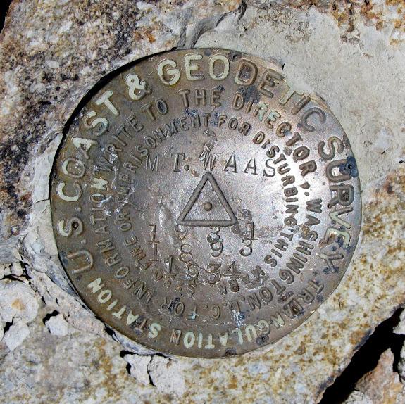 Mt. Waas survey marker