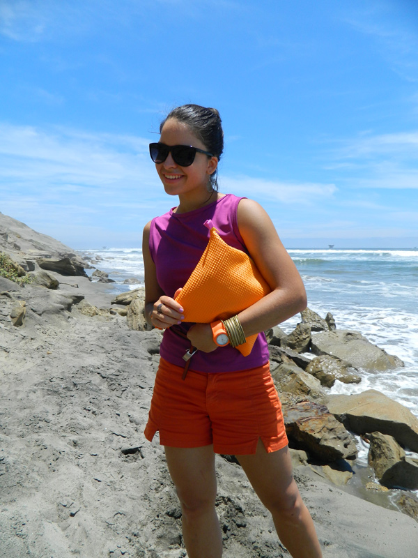 Color Blocking Purple and Orange outfit