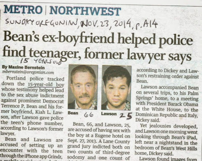Sunday Oregonian headline 'Terry Bean's ex-boyfriend helped police find alleged 15-year old victim in sex abuse . . .