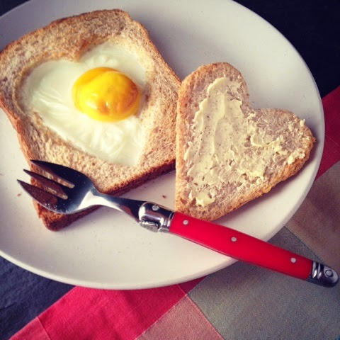 Breakfast - Egg In Toast - Heart - Mothers Day, Valentine's