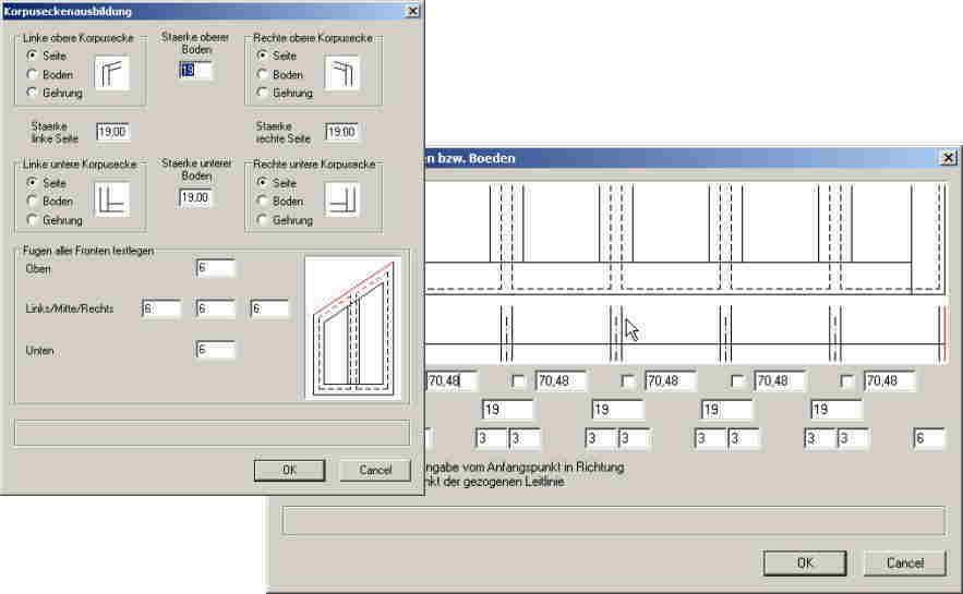 ElementsCAD - Dialoge fuer Polyschrank