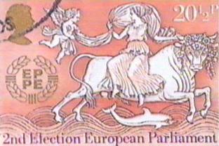 Europa debe su nombre a una diosa pagana Europa_ukstamp_2ndeuroelectns_1984