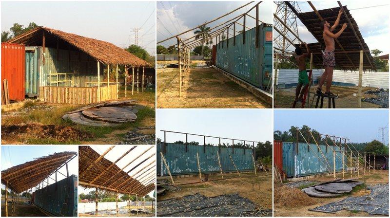 Estructura de bambú y techo de hojas en Go Green Gateway.