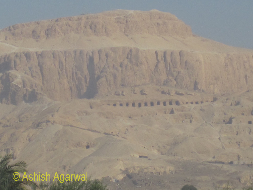 View of tombs of nobles in the cliffs outside Luxor