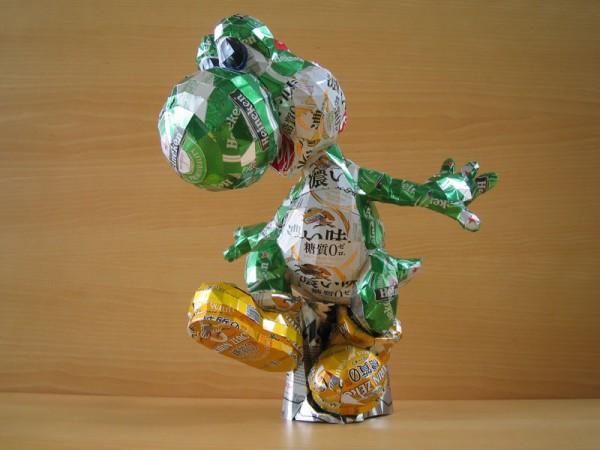 Arte creado usando latas de aluminio