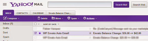 YkHOO! COURRIER CONTACTS CAL ENOAR Envto balance Chaa. Supprimer Déplacer Spam OAclla.s. Projet Envoyé Enveto Auto Email Enveto balance Spam