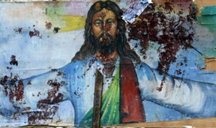 Blood-spattered mural at Coptic Orthodox church in Egypt.