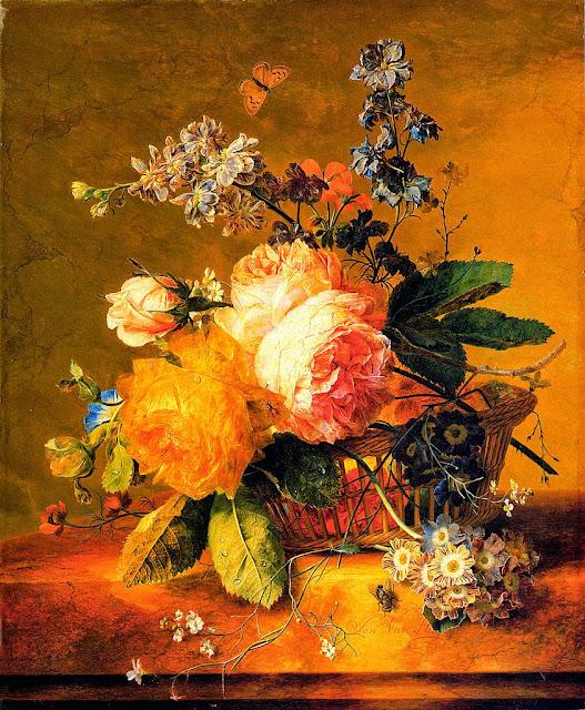 Jan van Huysum - Flowers in a Basket on a marble Ledge
