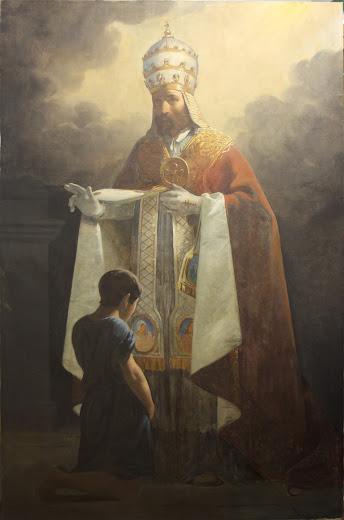 École française, Saint Eugène, pape, bénissant un enfant prosterné, 1ère moitié du XIXème siècle