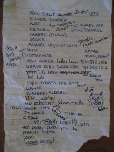 Sam and Dean's shopping list