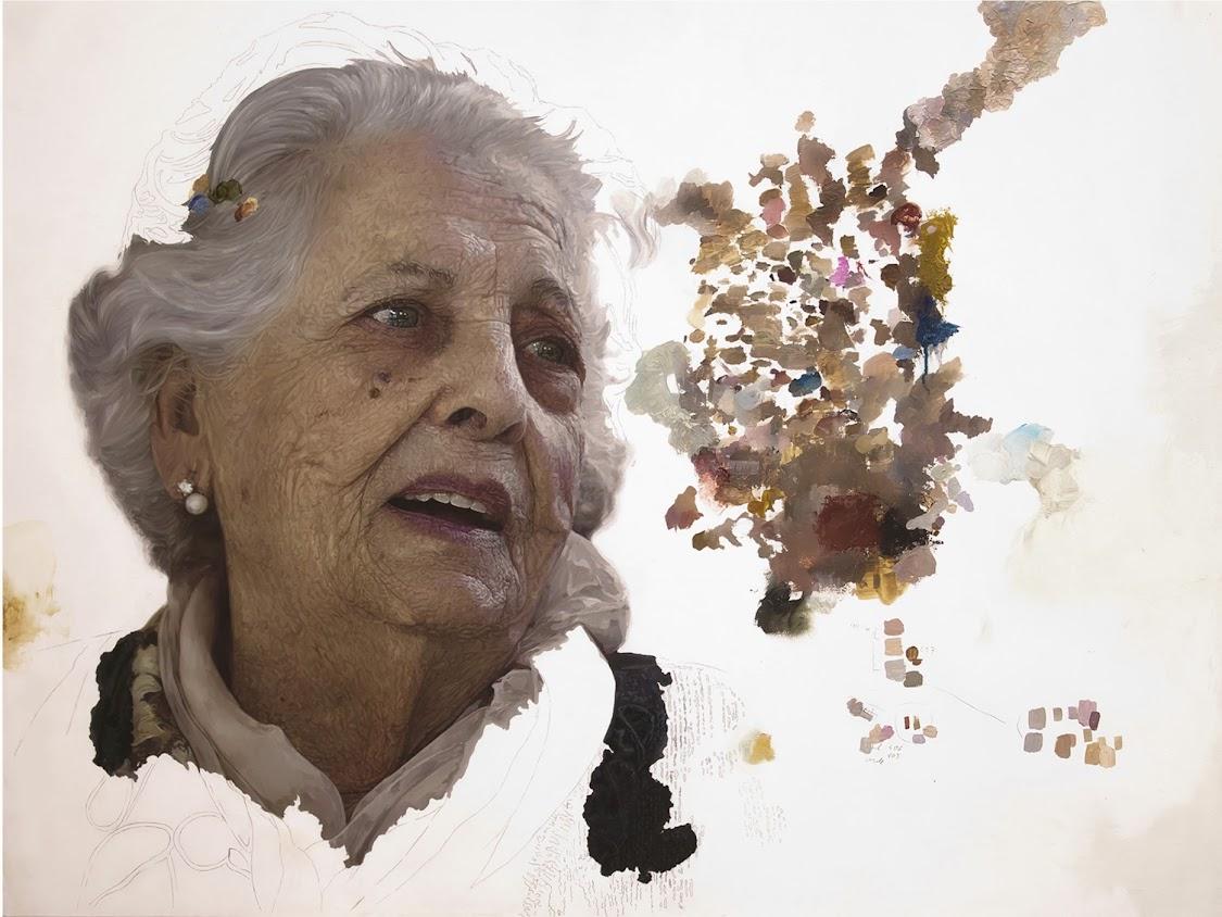 Retrato en técnica mixta  Encarnita de la pintora Cortés Antequera