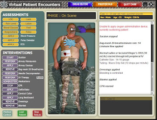 Virtual Patient Encounters treatment screen