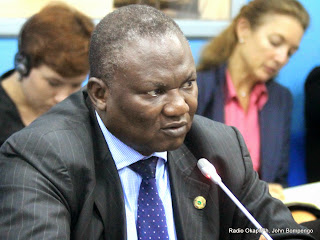 Boubacar Diarra, envoyé spécial de l'Union africaine dans les Grands-Lacs le 03/06/2014 au quartier général de la Monusco à Kinshasa, lors d'une conférence de presse. Radio okapi/Ph. John Bompengo