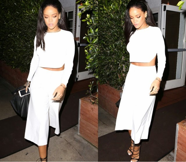 Rihanna Dines at Giorgio Baldi in Stella McCartney