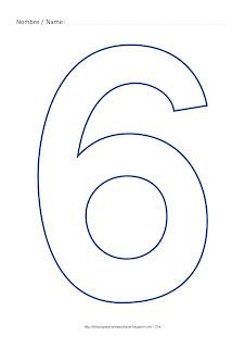 Dibujo para colorear y pintar el número seis en color azul