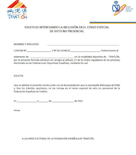 Modelo oficial de uso OBLIGATORIO para solicitar voto por correo. En Estemento debeis poneer; Deportista-Tecnico-Oficial (lo que corresponda en cada caso)