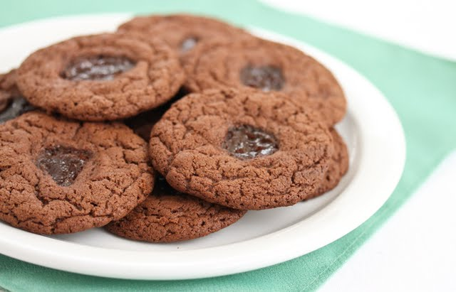close-up photo of a plate of Chocolate Peanut Butter and Jelly Cookies