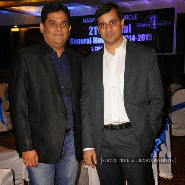 Abhishek Thakur and Piyush Daga during Round Table's AGM, in Nagpur.