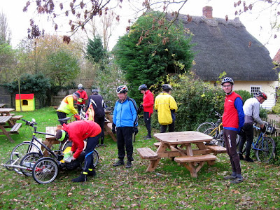 Lots of cyclists in pub garden
