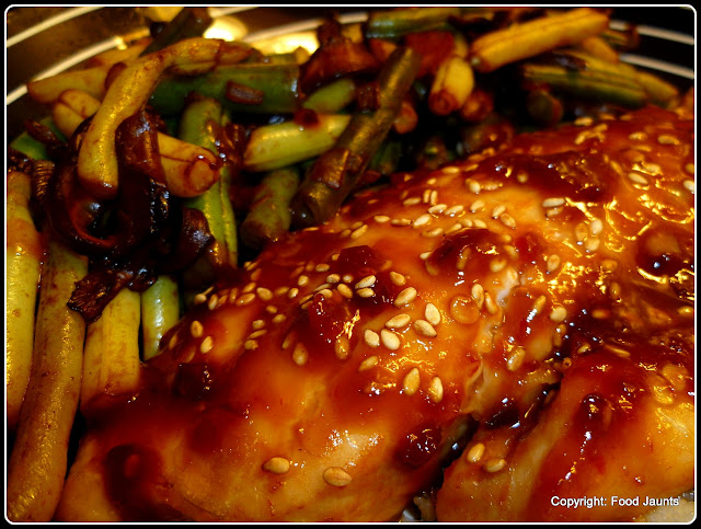 Hoisin Fish with Green Beans and Shiitakes