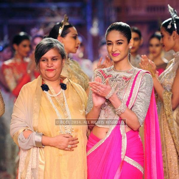 Bollywood actress Ileana Dcruz walks the ramp for Sulakshana on Day 6 of India Couture Week, 2014, held at Taj Palace hotel, New Delhi.<br />