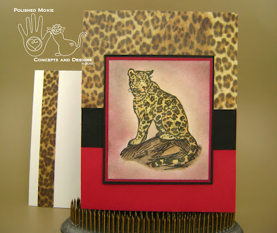 Picture of red leopard card and envelope combo