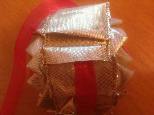 No sew Christmas ornament - polystyrene ball and ribbon