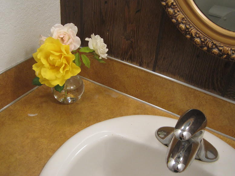 homemaking flowers in the bathroom