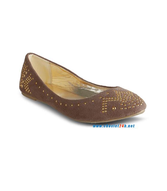 Giày búp bê thời trang Sophie Velvet Brown
