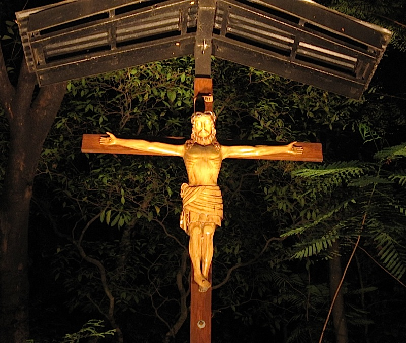 crucifix at the corner of the road leading to the Ateneo de Manila Jesuit Residence
