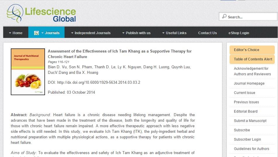 Kết quả nghiên cứu của Ích Tâm Khang đăng trên tạp chí toàn cầu