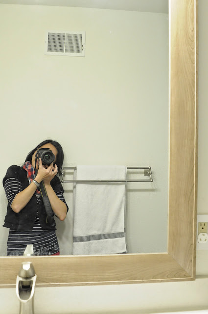 Large mirror to make small bathroom feel bigger