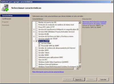 Instalar protocolo SNMP en equipo con Windows Server 2008 R2