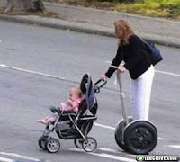 segway fail, pushing a pram on a segway