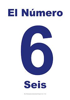 Lámina para imprimir el número seis en color Azul