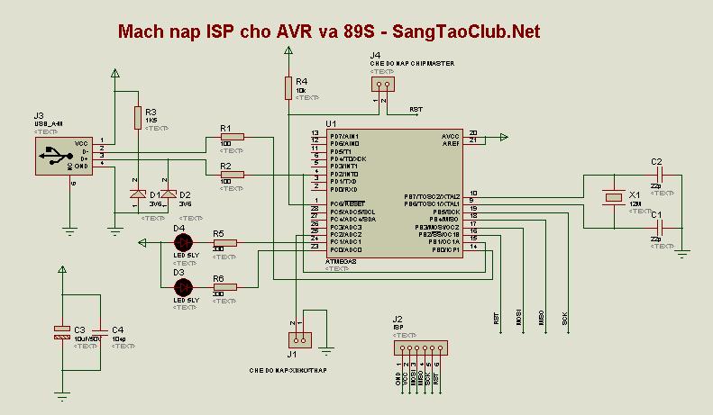 Mạch nạp ISP cho AVR - SangTaoClub.Net