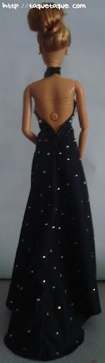 Barbie OOAK designs by Taque-Taque: clon del diseño de Philipp Plein, foto de la vista trasera (de espaldas) del vestido