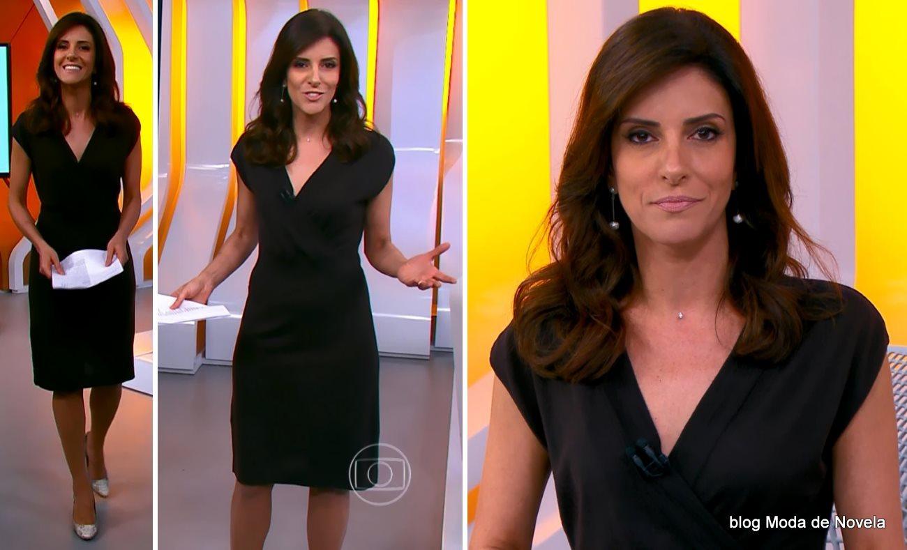moda do programa Hora 1, vestido preto da Monalisa Perrone dia 5 de dezembro