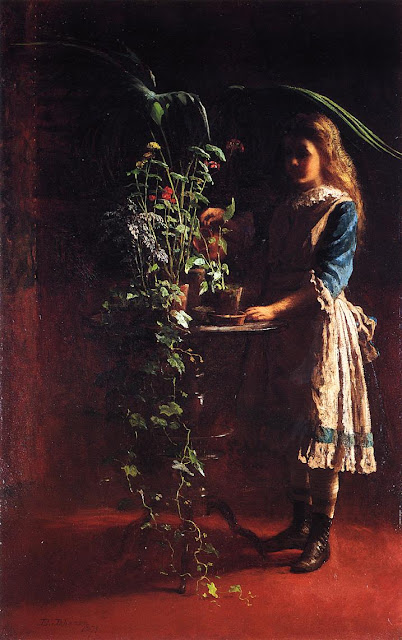 Eastman Johnson - Watering Flowers
