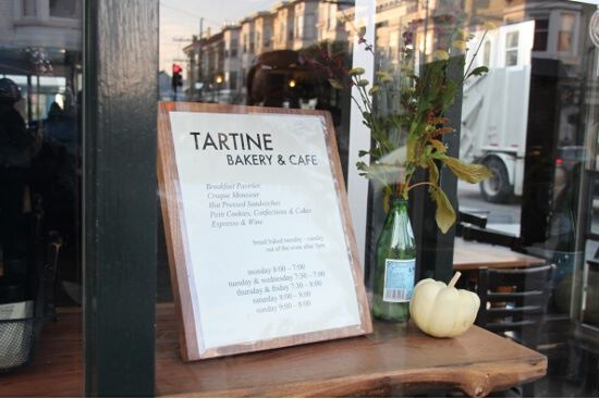 Tartine Bakery's only sign. Just look for the lineups.