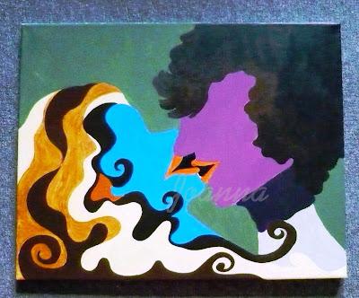 obraz, kobieta i mężczyzna w pocłaunku