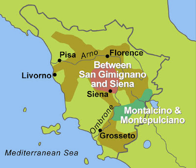 Tuscany Map, Wine Travel Guides