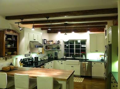 Finished kitchen with soapstone, DIY butcherblock peninsula